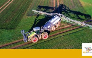 Aerial view of a machine working in a field