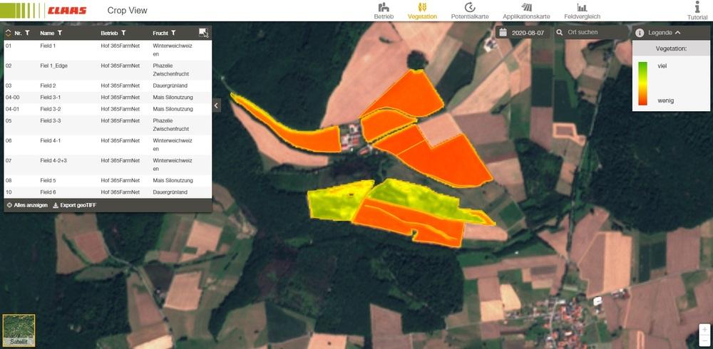 Screenshot CLAAS Crop View Vegetationskarte