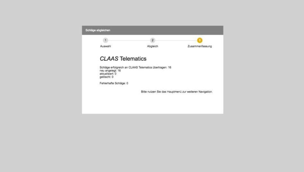 Captures d'écran CLAAS TELEMATICS Synchronisation de parcelles