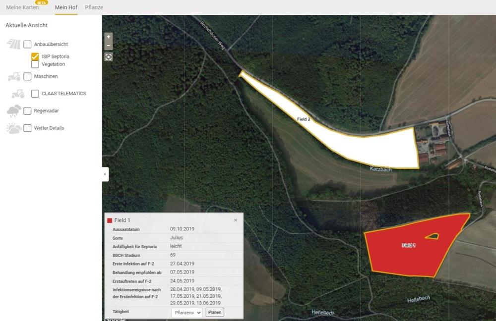 Screenshot ISIP-Septoria-Prognose