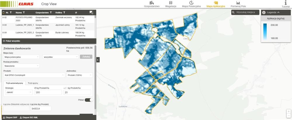 CLAAS Crop View mapy aplikacji