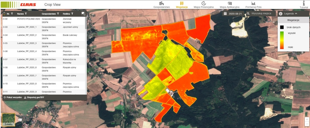 CLAAS Crop View mapy wegetacji