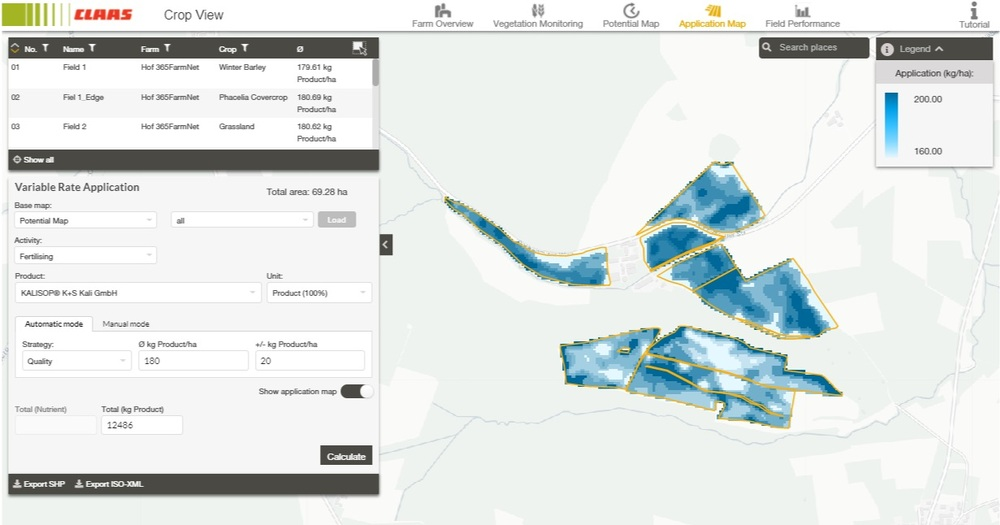 CLAAS Crop View Application Map