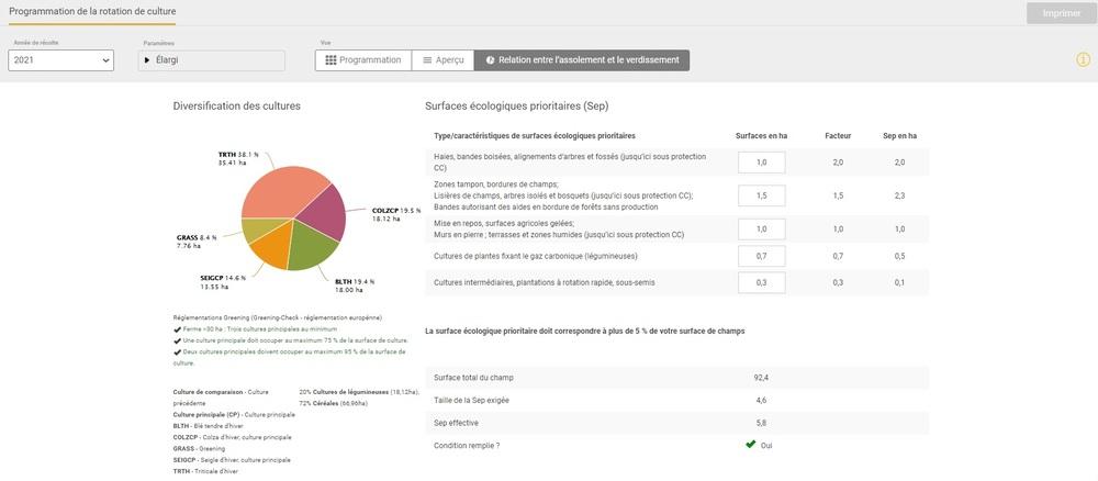 Capture d'écran Programmation des cultures et variétés