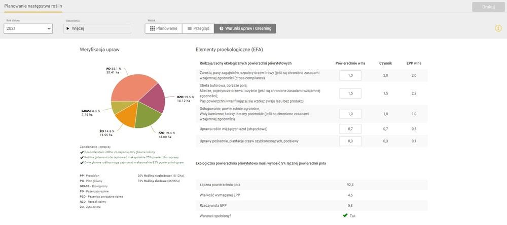 Zdjęcia ekranu Planowanie płodozmianu i odmian