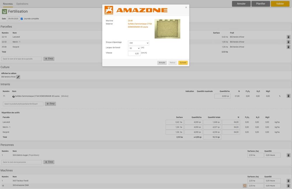 Capture d'écran Service de fertilisation AMAZONE