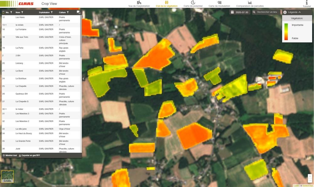 CLAAS Crop View carte de végétation