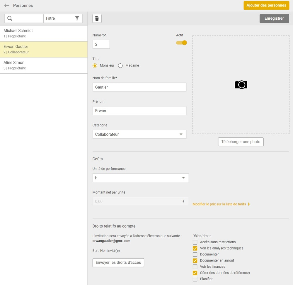 Capture d'écran droit d'accès