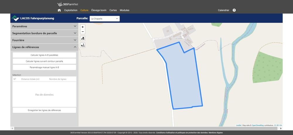 Capture d'écran Planification d'itinéraire LACOS