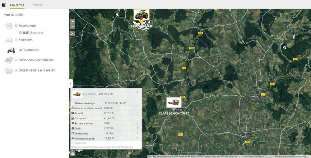 Capture d'écran CLAAS TELEMATICS