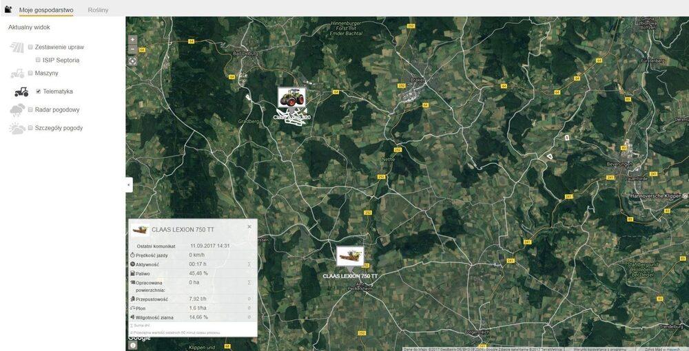 Zdjęcia ekranu CLAAS TELEMATICS