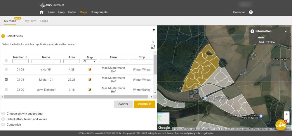 Screenshot Application Maps