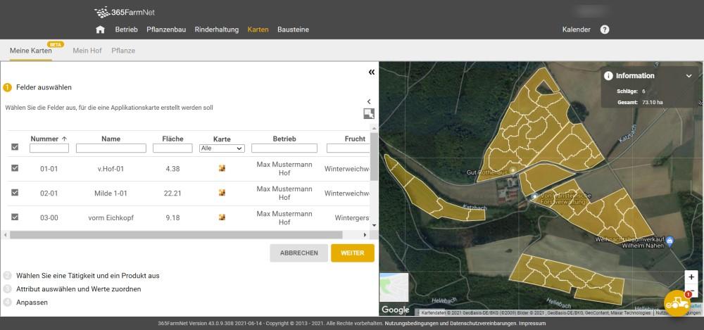 Screenshot Applikationskarte