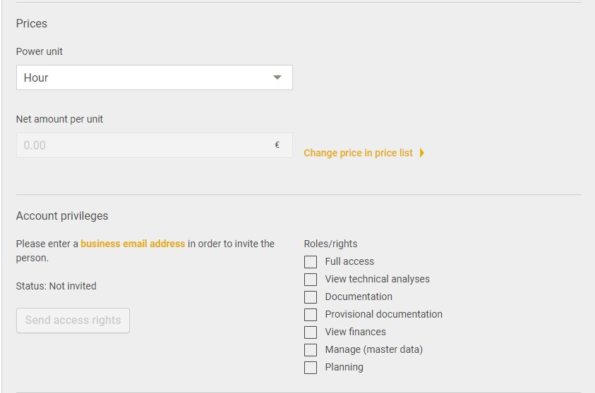 Screenshot Access rights