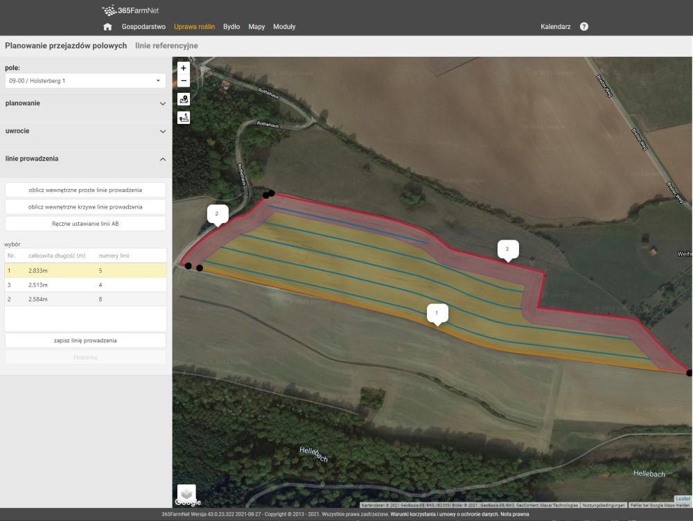 Zrzut ekranu LACOS Planowanie przejazdów polowych