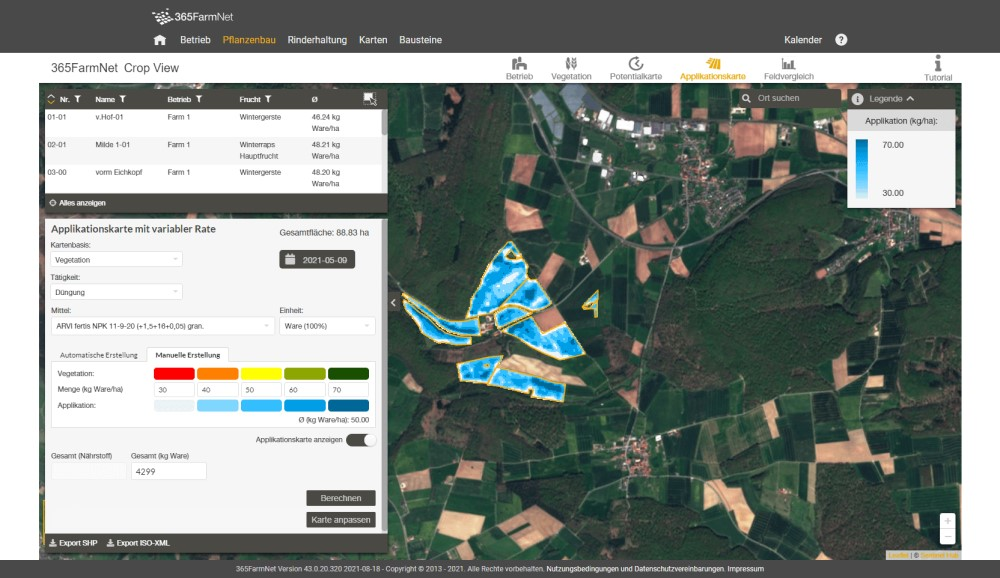 Screenshot Crop View Applikationskarte