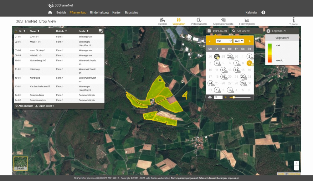 Screenshot Crop View Vegetationskarte